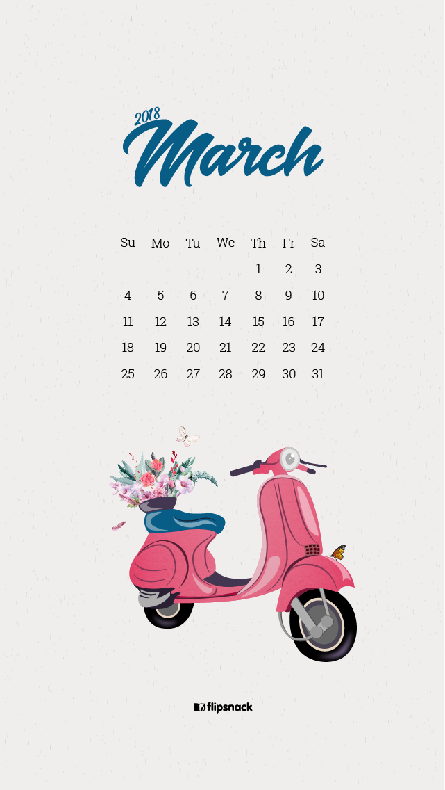 March 2018 free wallpaper calendar for desktop background